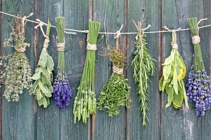 Viele getrocknete Pflanzen an einem Haus