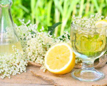Ein Glas mit Saft neben einer halben Zitrone